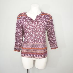 Rebecca Malone Red Gem Patterned Blouse